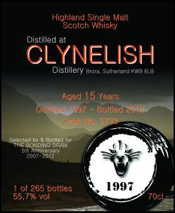 Clynelish 15 YO 1997/2012, 55.7%, The Bonding Dram, 5th anniversary, cask 5733