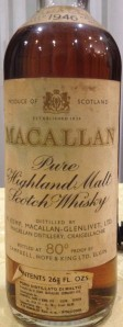 Macallan 1946 80 proof, OB Campbell, Hope & King, 1961, securo cap