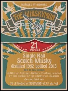 Ardmore 21 YO 1992/2013 ' See me drink me', 49.7%, The Whiskyman